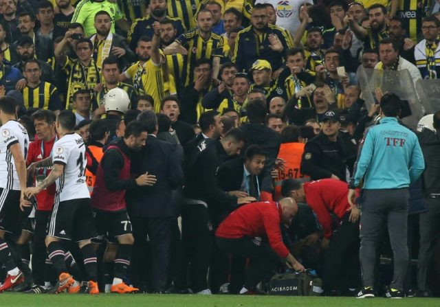 Man down: Besiktas head coach Senol Gunes suffered a head injury after being hit by a missile thrown from the crowd against Fenerbache