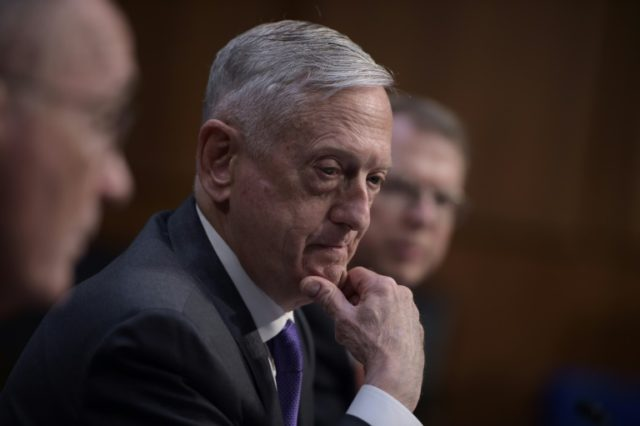 US Defense Secretary Jim Mattis testifies at the Senate Armed Services Committee on Capitol Hill April 26, 2018