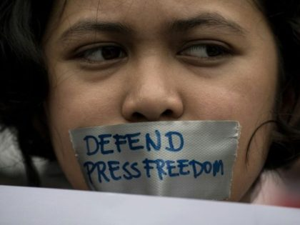 Protestors held a rally to defend press freedom in Manila in January, following accusations of a crackdown by Philippine President Rodrigo Duterte's government