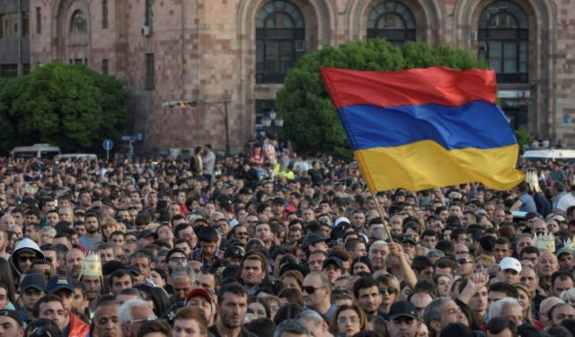 Armenian opposition supporters demonstrate in downtown Yerevan
