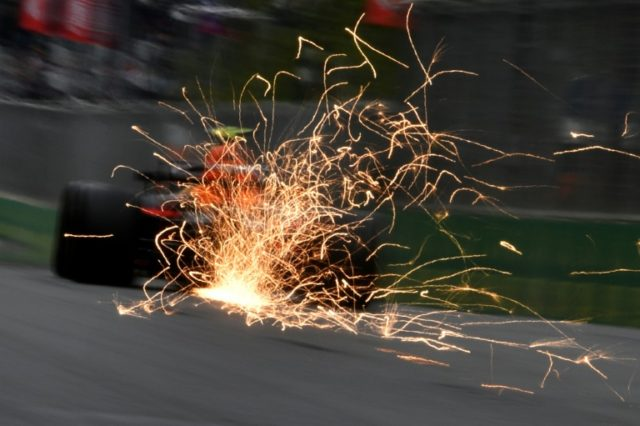 Sparks fly: Red Bull's Dutch driver Max Verstappen steers his car during the second practise session