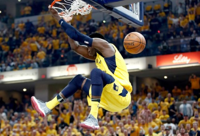 Victor Oladipo finished with 28 points, 13 rebounds and 10 assists for his first playoff triple double as the Pacers levelled the series 3-3 crushing the Cleveland Cavaliers 121-87