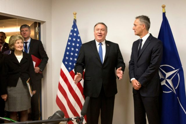 US Secretary of State Mike Pompeo meets Secretary General Jens Stoltenberg at NATO headquarters in Brussels