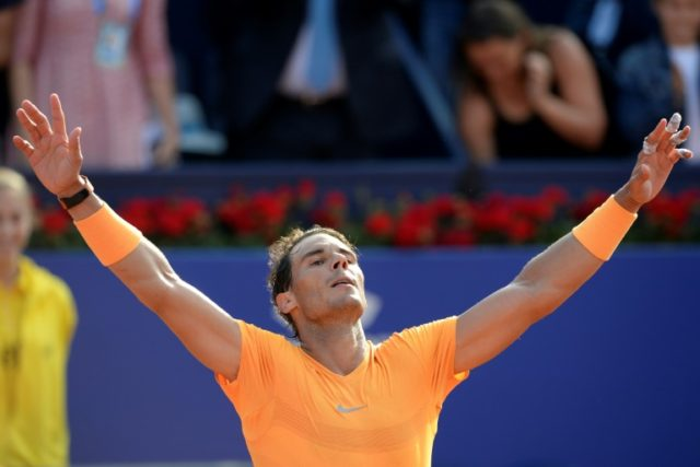 42 sets in a row and counting: Rafael Nadal reacts after beating Slovakia's Martin Klizan to make the semi-finals in Barcelona