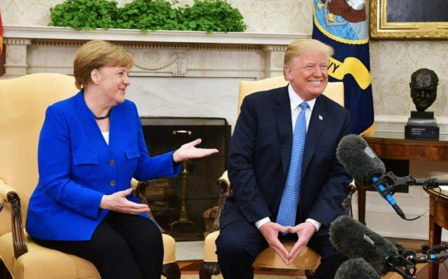 Trump praises Merkel but gives little ground on trade, Iran