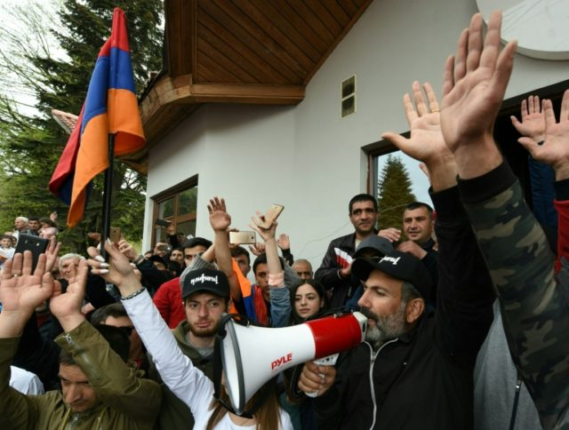 Armenian opposition leader Nikol Pashinyan meets with supporters in the northern town of Dilijan