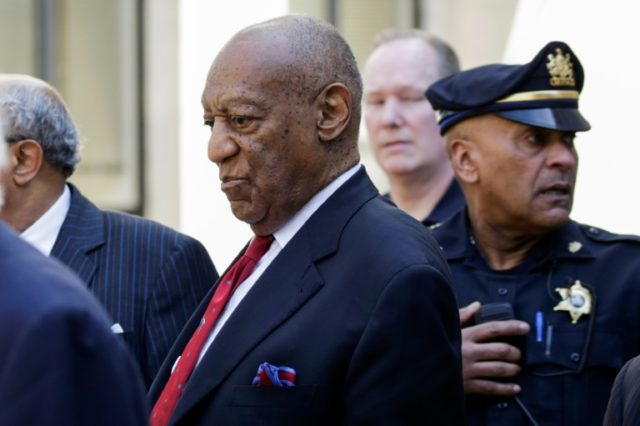 Actor and comedian Bill Cosby emerging from the courthouse after the verdict