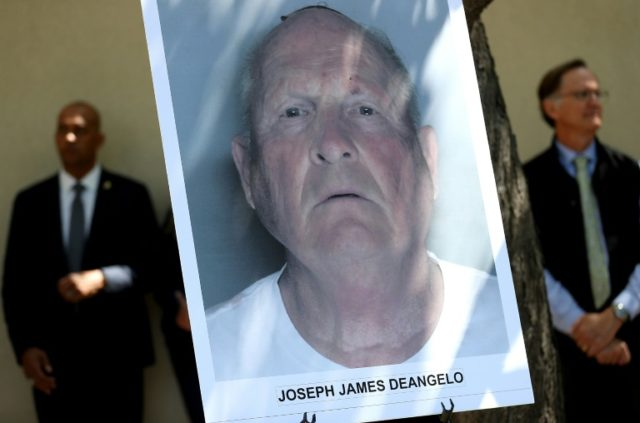 The mugshot of accused 'Golden State Killer' Joseph James DeAngelo on display at a Sacramento press conference where his arrest was announced