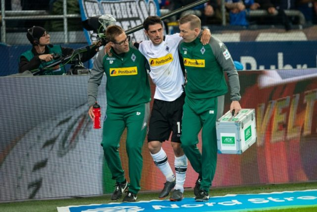 World Cup blow? Moenchengladbach's Lars Stindl is escorted off the pitch following injury