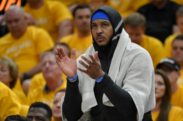 Carmelo Anthony spent significant time on the bench during the Thunder's first-round loss to the Utah Jazz