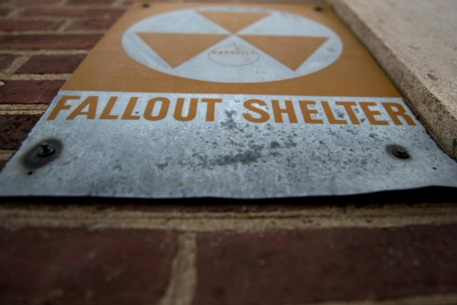 A sign marks the location of a former Civil Defense fallout shelter in Washington, one of dozens built during the Cold War as the United States braced for the possibility of a nuclear attack