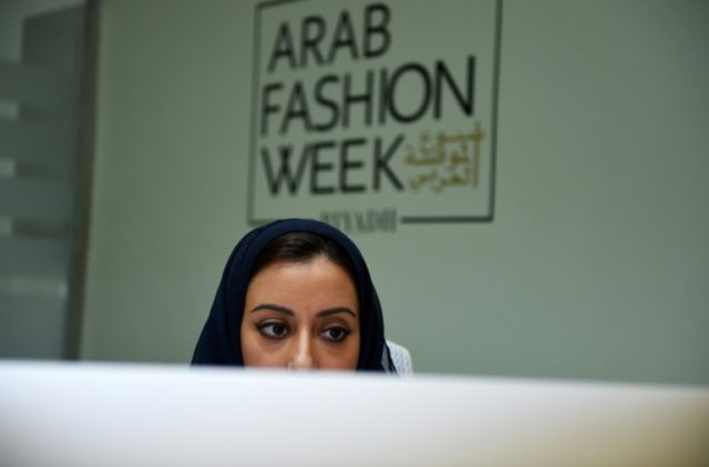 Saudi Princess Noura bint Faisal al-Saud, president of the Arab Fashion Council, works at her office in Riyadh on April 19, 2018