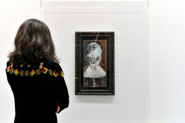 "A 1968 work by late Spanish artist Pablo Picasso entitled ""Buste de mousquetaire"" is on display at the Museum of Contemprary Art (MAMCO) in Geneva, which was bought online jointly by 25,000 people"