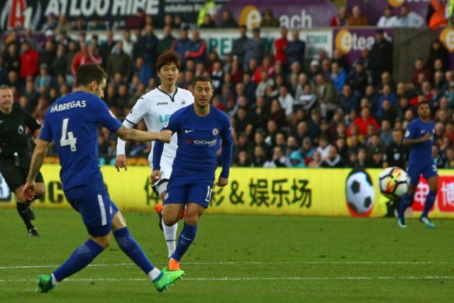 Cesc Fabregas scored his 50th Premier League goal to keep Chelsea's top-four hopes alive