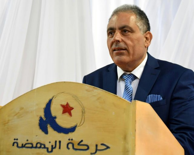Simon Slama, a Tunisian Jewish candidate for the Islamist Ennahdha party, speaks during a press conference in Monastir on April 14, 2018