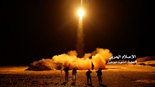 A scene from a video issued by Yemen's Huthi rebels on March 27, 2018 shows what appears to be Huthi military forces launching a ballistic missile on March 25 from the capital Sanaa