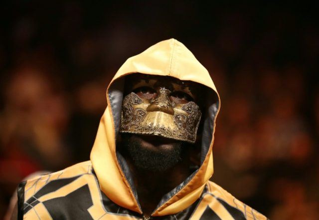 Deontay Wilder wears a mask before his fight against Luis Ortiz on March 3, 2018 in New York City