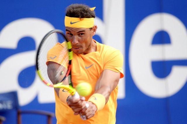Power packed: Rafael Nadal returns the ball to Stefanos Tsitsipas in Sunday's Barcelona Open final