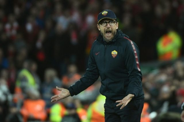 Roma's head coach Eusebio Di Francesco, pictured on April 24, 2018, said he did not believe the Serie A title race was over