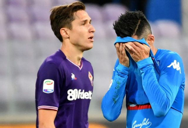 Don't look now: Napoli's Spanish forward Jose Callejon reacts as he leaves the field after the 3-0 defeat