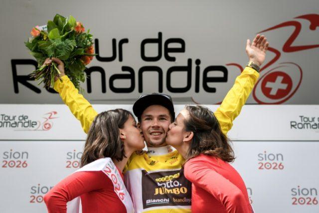Primoz Roglic celebrated winning the Tour of Romandie on Sunday.