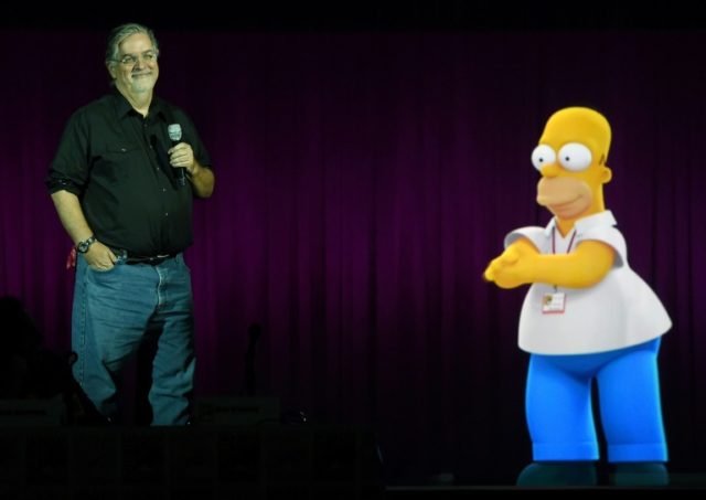 """Simpsons"" creator Matt Groening, pictured with the character Homer Simpson, says he is proud of the show which has aired since 1989"