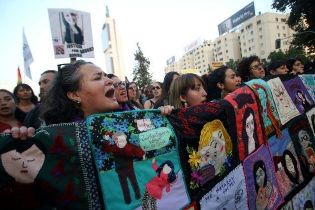 Chilean women rally in Santiago on International Women's Day, March 8