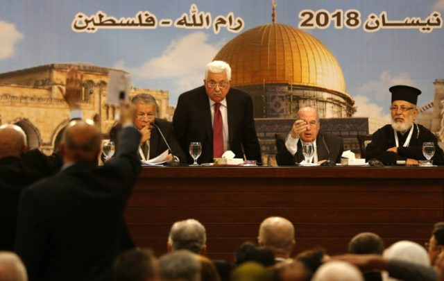 Palestinian president Mahmud Abbas says children should be kept away from Gaza border clashes as he chairs a rare meeting of the Palestinian National Council in Ramallah on April 30, 2018
