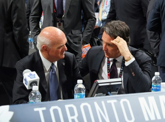 Maple Leafs president Brendan Shanahan (R) said that replacing 75-year-old GM Lou Lamoriello was part of their joint plan