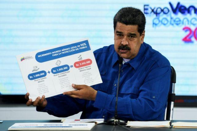 Venezuelan president Nicolas Maduro announcing the increase of the montly minimum wage