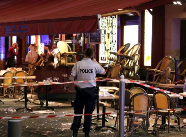 A bar sealed off by police after the panic in Nice