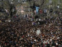 Kashmiri villagers attend the funeral of Zubar Ahmad, one of the killed rebels at Shopian, south of Srinagar, India, Sunday, April 1, 2018. Deadly protests against Indian rule erupted in several parts of Indian-controlled Kashmir on Sunday following the killings of at least eight rebels in fighting with government forces, …