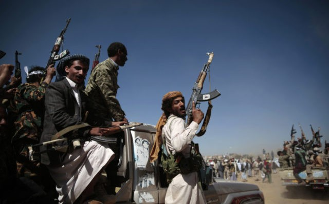 Yemen Iran In this Jan. 3, 2017, file photo, newly recruited Shiite fighters, known as Houthis, mobilize to fight pro government forces, in Sanaa, Yemen. Roadside bombs disguised as rocks in Yemen bear similarities to others used by Hezbollah in southern Lebanon and by insurgents in Iraq and Bahrain, suggesting …