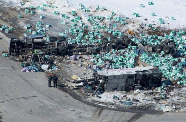Canada reels: 15 die when truck, hockey team bus collide