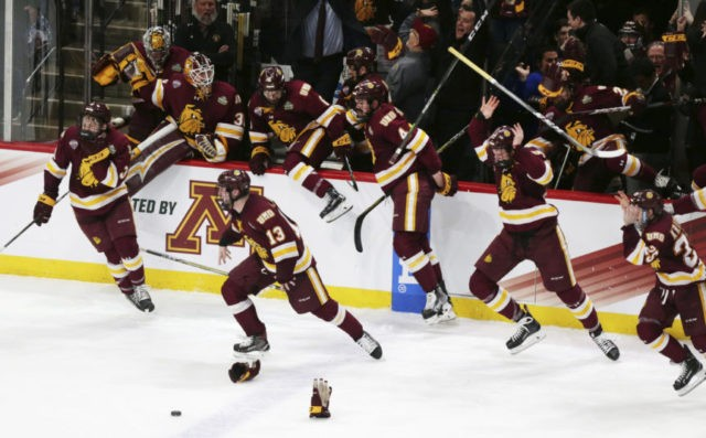 Minnesota Duluth beats Notre Dame 2-1 for NCAA hockey title