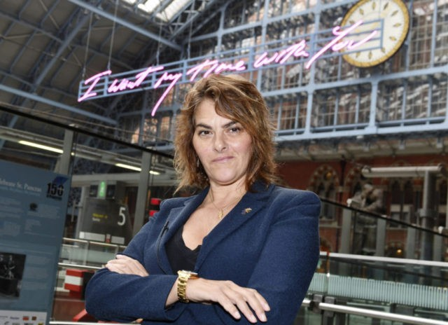 Emin sends Brexit message with 'sexy' train station artwork
