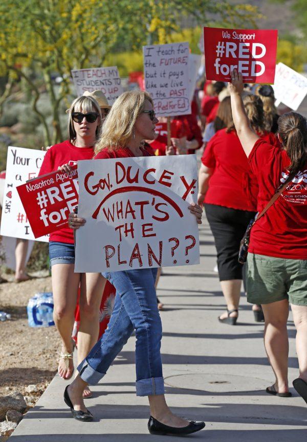 Arizona teachers join others nationally seeking pay hikes