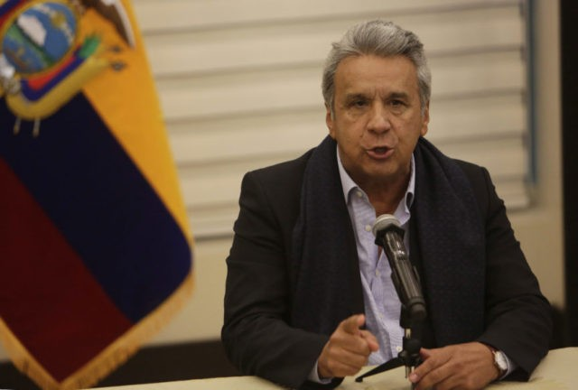 Ecuador's President Lenin Moreno talks during a news conference about the kidnapped journalists of Ecuador's El Comercio, in Quito, Ecuador, Thursday, April 12, 2018. Moreno said it is highly likely that three press workers kidnapped along the conflictive border with Colombia were killed and gave their captors 12 hours to …