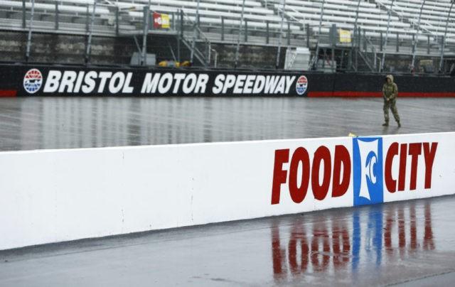Larson leads at Bristol; race postponed to Monday
