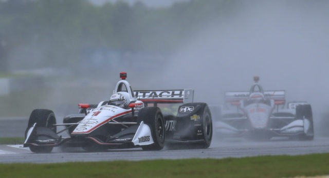 The Latest: IndyCar Alabama race to be completed Monday