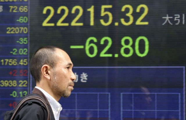 Asian stocks slip following sell-off on Wall Street