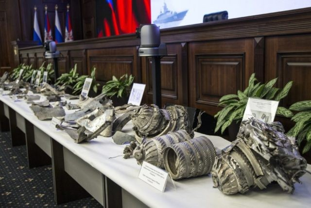 """Fragments of US """"tomahawk"""" cruise missiles captured by Syrian forces in a recent attack, are displayed at a briefing in the Russian Defense Ministry in Moscow, Russia, Wednesday, April 25, 2018. The Russian military has indicated it will supply the Syrian government with a sophisticated air defense system, after condemning …"""
