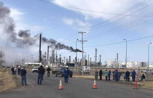 The Latest: Small hospital, schools evacuated near refinery