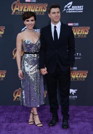 Scarlett Johansson, Colin Jost make red carpet debut as couple