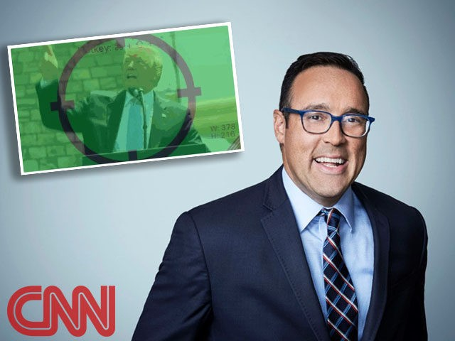 CNN portrait of pundit Chris Cillizza next to an image of President Donald Trump in the center of rifle crosshairs which Cillizza tweeted and quickly deleted.