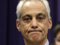 Chicago Mayor Rahm Emanuel pauses in his remarks after police announced murder charges against Shomari Legghette, in the fatal shooting Tuesday, of police Cmdr., Paul Bauer at police headquarters Wednesday, Feb. 14, 2018, in Chicago. Legghette, 44, who police say has a long criminal history, was also charged with being …
