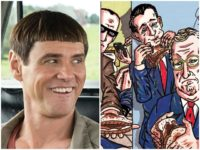 Actor Jim Carrey shared his latest piece of politically motivated artwork on Tuesday, this time depicting Republicans eating sandwiches filled with President Donald Trump's excrement.