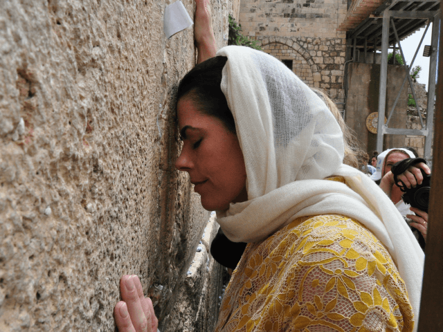 Chele Farley praying at the Western Wall yesterday Credit Courtesy