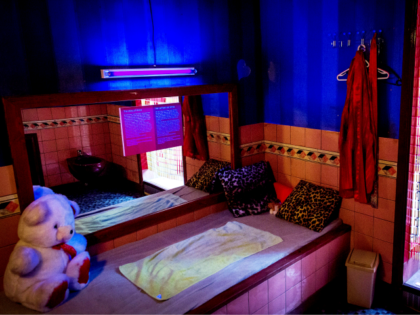 A view of a room in the first Museum of Prostitution in Amsterdam, called 'Red Light Secrets', in The Netherlands, on January 31, 2014. The museum, in the Amsterdam Red Light District, gives an inside view of the world of the Dutch prostitutes. AFP PHOTO / ANP / KOEN VAN …