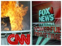 Collage of CNN burning dumpster and Fox News Channel powerful primetime